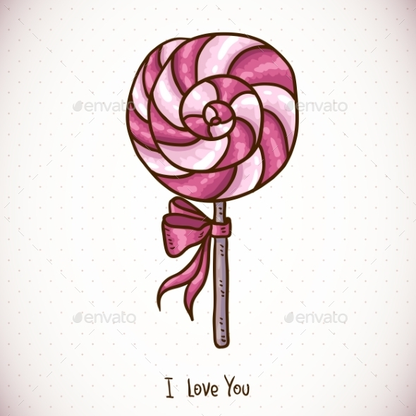 Greeting Card with Candy Lollipop - Patterns Decorative