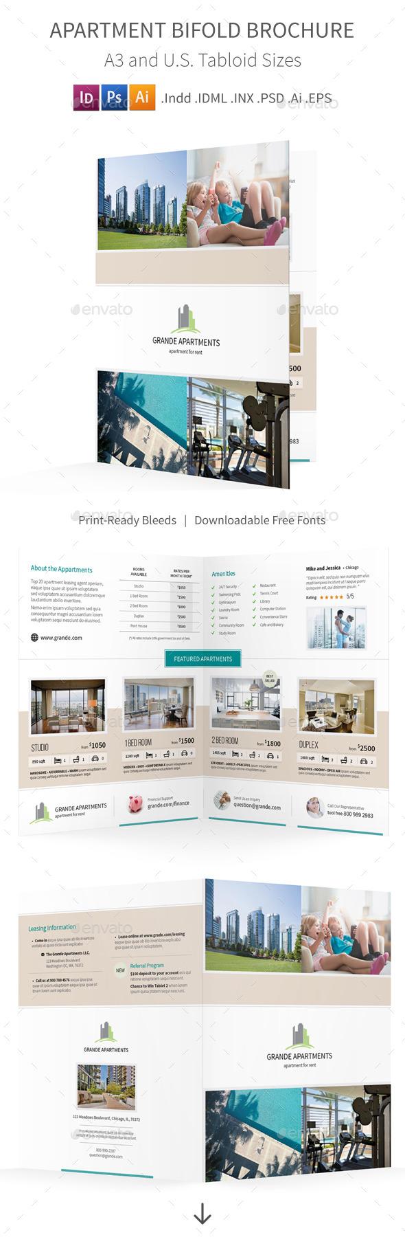 Apartment Real Estate Bifold / Halffold Brochure - Informational Brochures