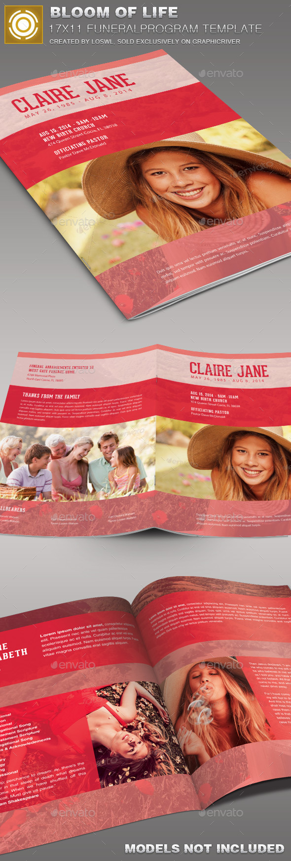 Bloom of Life Funeral Program Template 007 - Informational Brochures