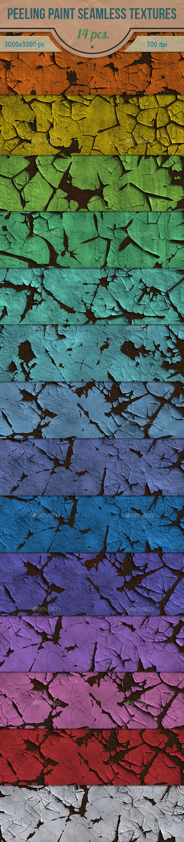 Peeling Paint HD Seamless Textures Pack - Industrial / Grunge Textures
