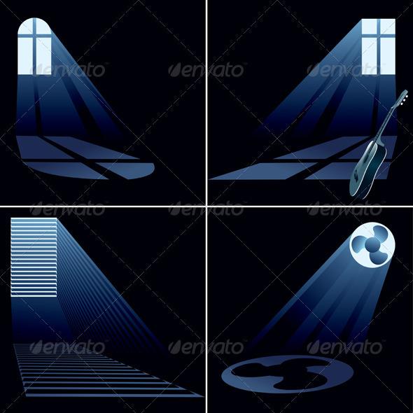 Four light beams inside windows - Buildings Objects