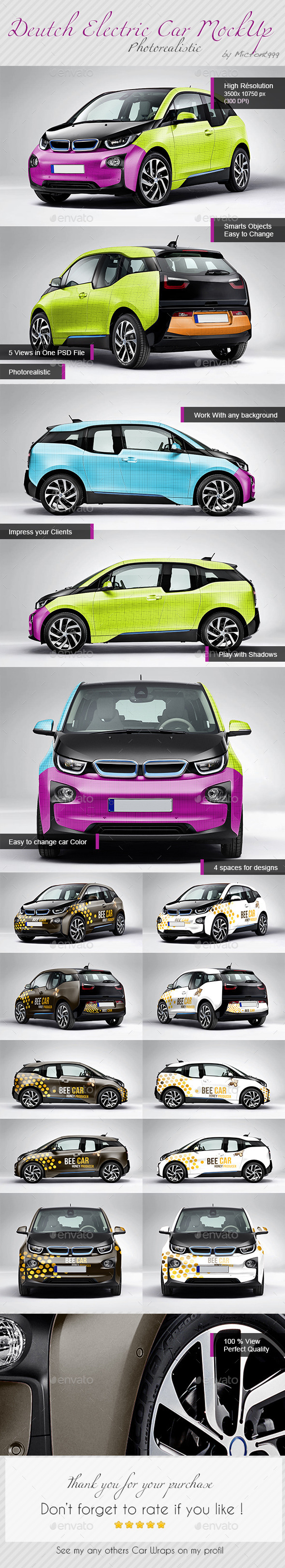 Photorealistic Deutch Electric Car Mock-up - Vehicle Wraps Print