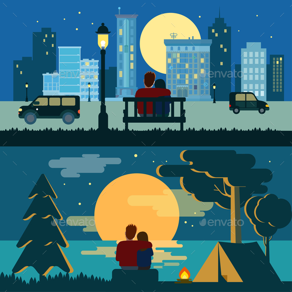 Couple Dating Night Landscapes - People Characters