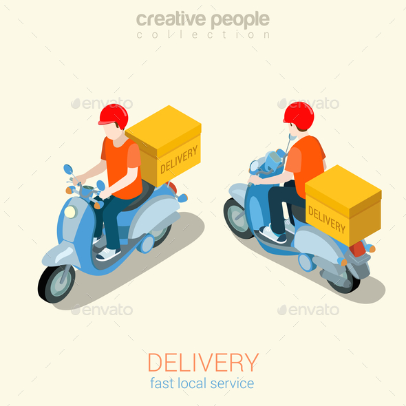 Scooter Delivery Man - People Characters