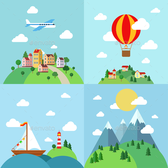 Set of Flat Outdoor Vacation Landscapes - Travel Conceptual