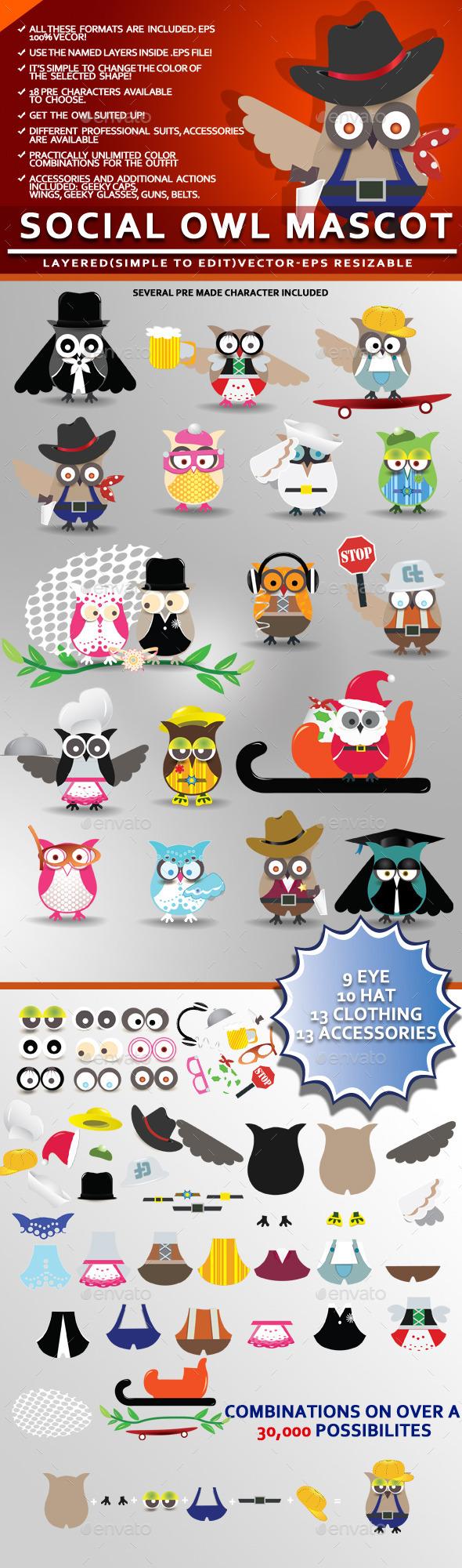 Social Owl Mascot - Animals Characters