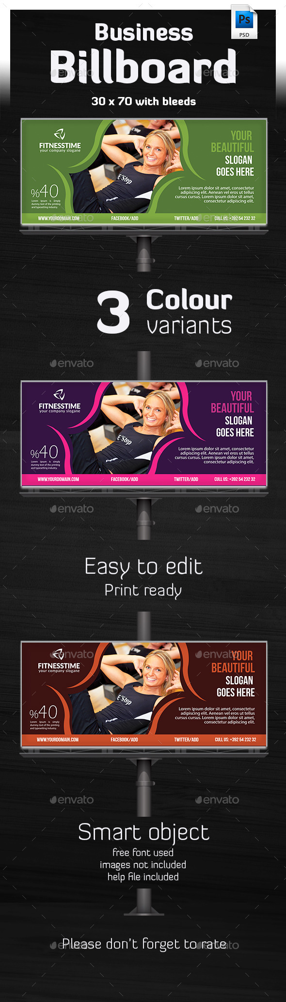 Tivato - Ultimate Billboard Template  - Signage Print Templates