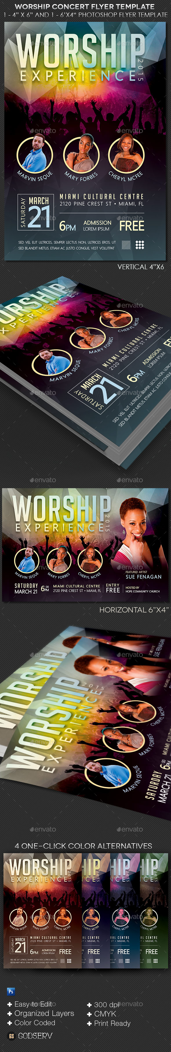 Worship Concert Flyer Template - Church Flyers