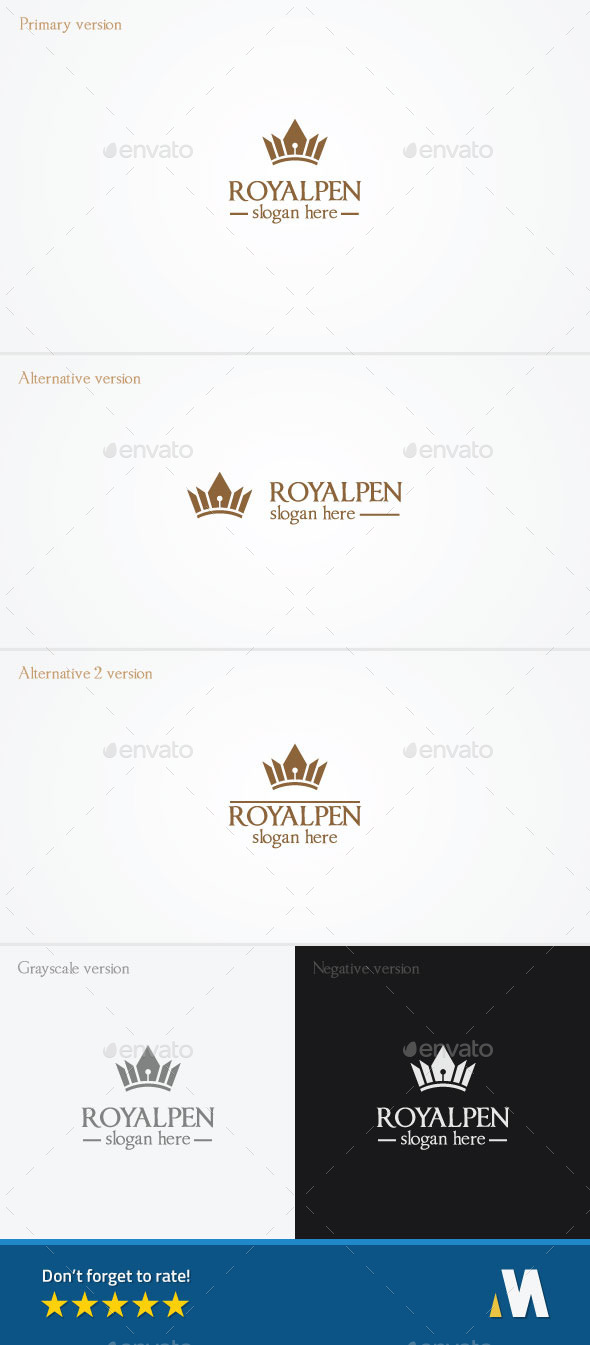 Royal Pen or King Author - Symbols Logo Templates