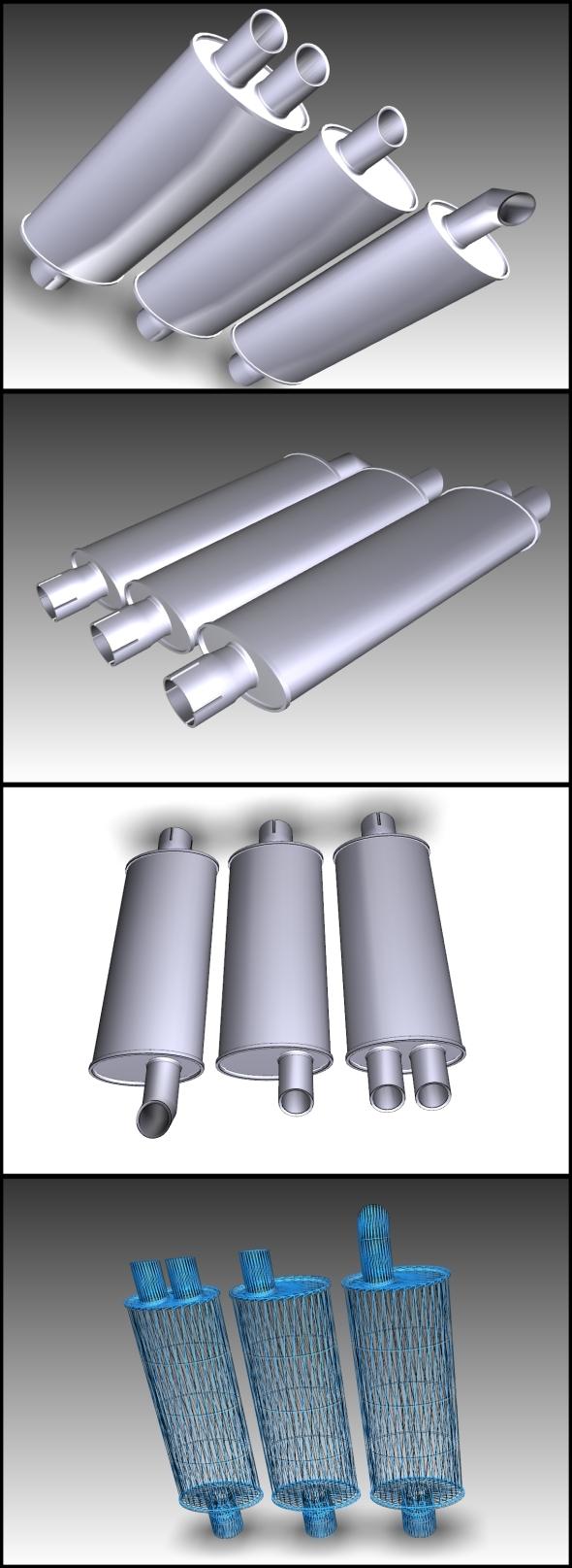 3 in 1 Exhaust pipe (Turbo+Sport+Standart) - 3DOcean Item for Sale