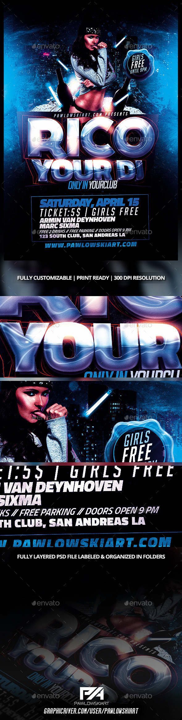 Electro House DJ Flyer Template - Clubs & Parties Events