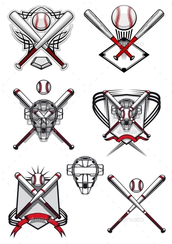 Baseball Symbols with Heraldry Elements - Sports/Activity Conceptual