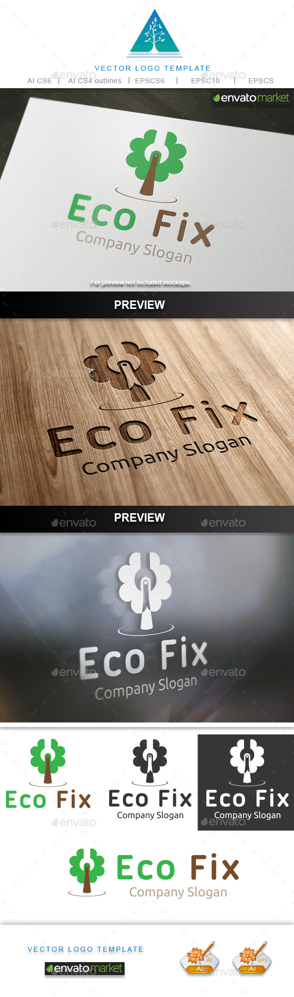 Eco Fix 2 Logo - Nature Logo Templates