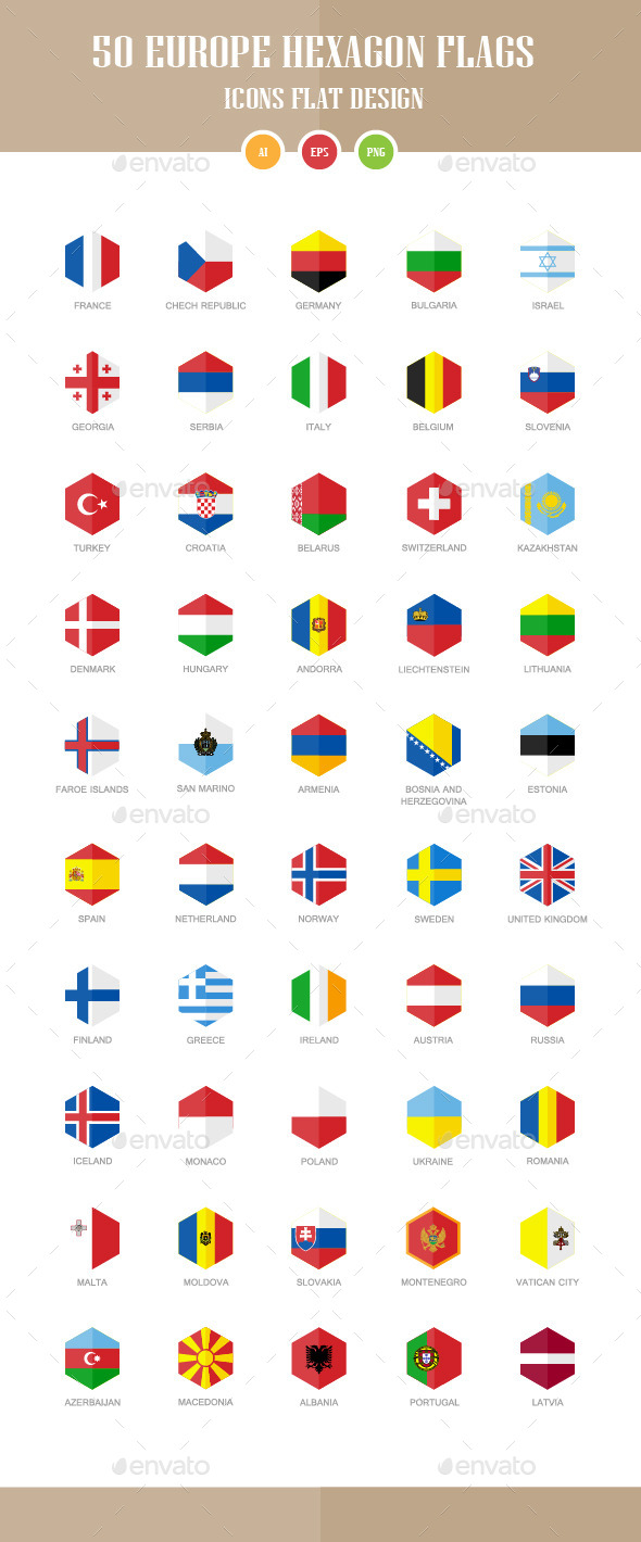 50 Europe Flag Icons. Hexagon Flat Design - Objects Icons