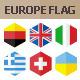 50 Europe Flag Icons. Hexagon Flat Design