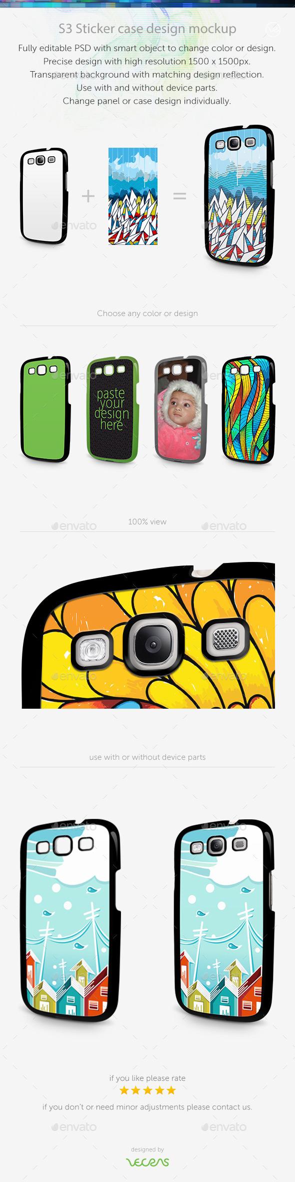 S3 Sticker Case Design Mockup