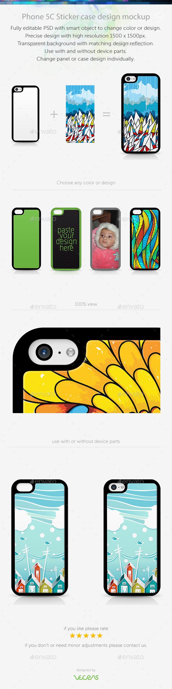 Phone 5C Sticker Case Design Mockup - Mobile Displays