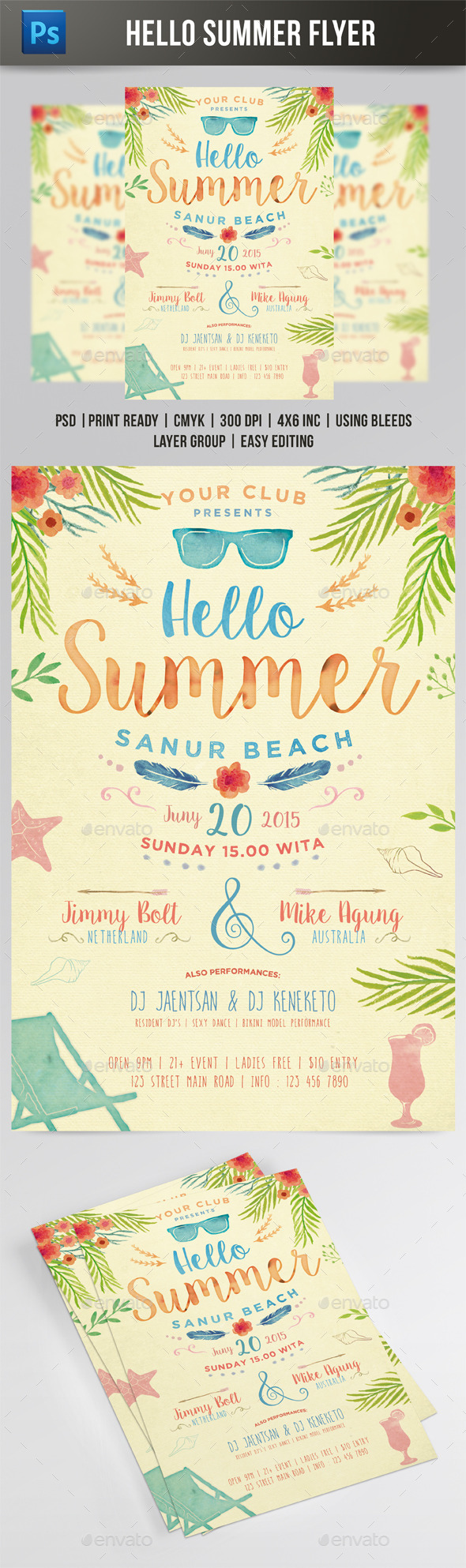 Hello Summer Flyer - Events Flyers