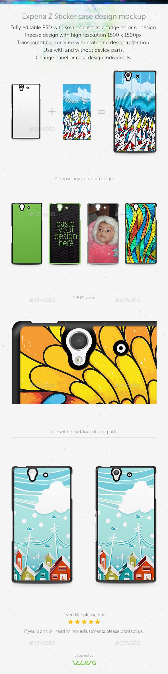 Experia Z Sticker Case Design Mockup