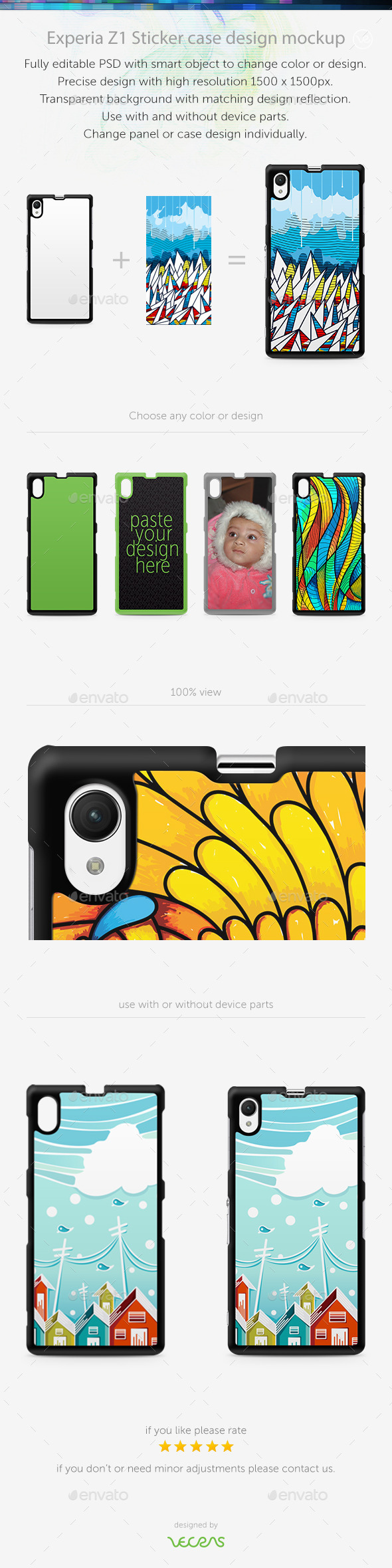 Experia Z1 Sticker Case Design Mockup - Mobile Displays