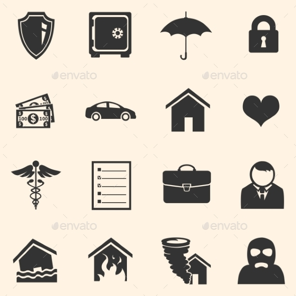 Vector Set of Insurance Icons - Business Icons
