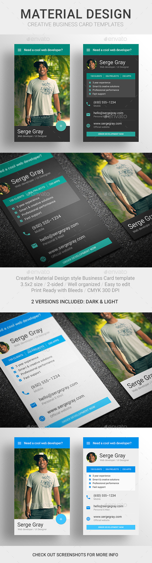 MaDe - Material Design Business Card Template - Creative Business Cards