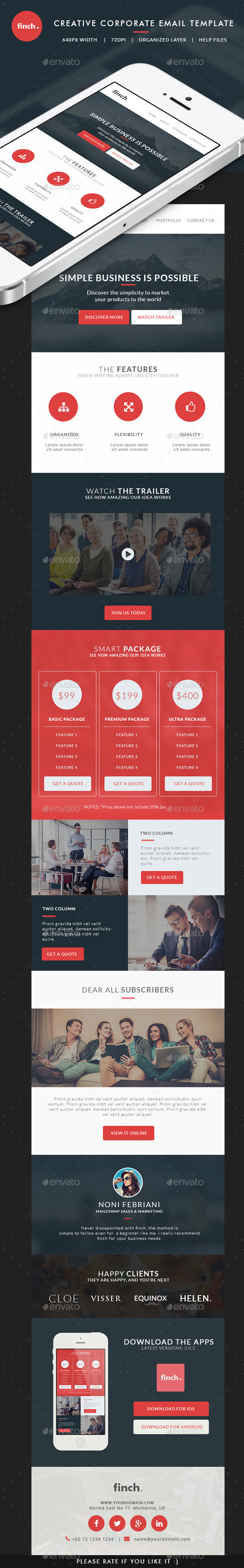 Corporate Email Template - finch - E-newsletters Web Elements