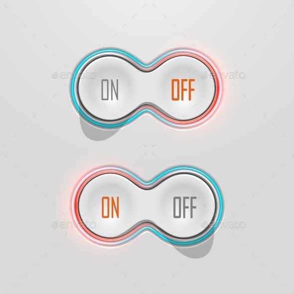 Button Switches with Backlight. On and Off. Stock  - Technology Conceptual