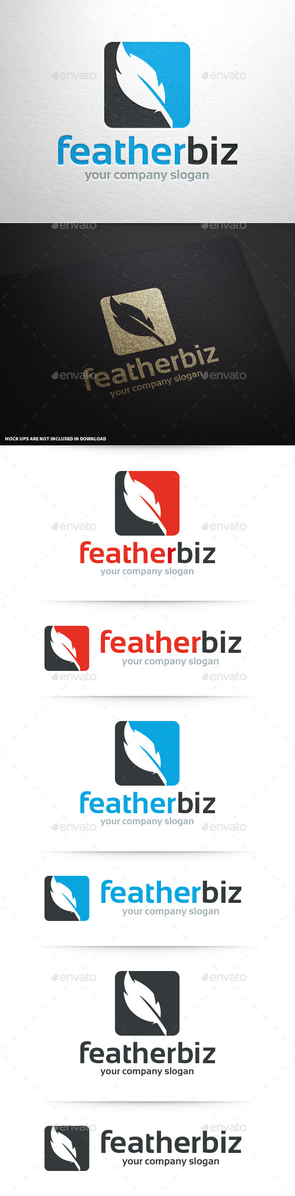Feather Business Logo Template - Objects Logo Templates