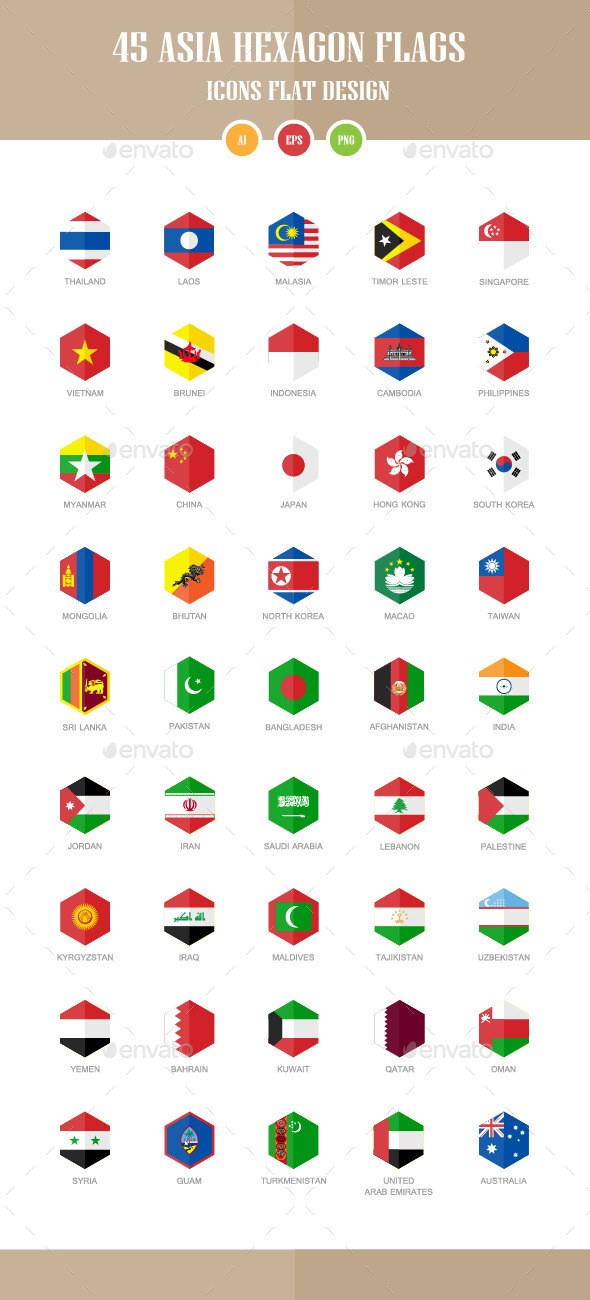45 Asia Flag Icons. Hexagon Flat Design - Objects Icons