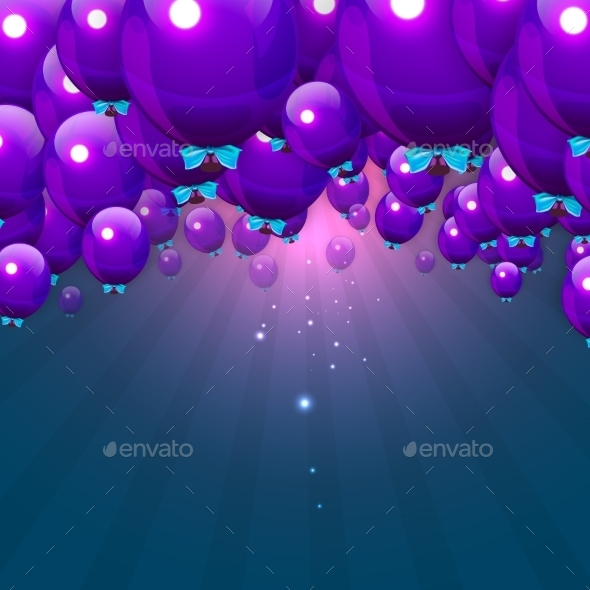 Party Purple Balloons Background for your Text - Backgrounds Decorative