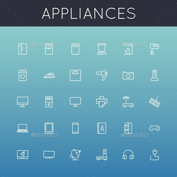 Vector Appliances Line Icons - Technology Icons