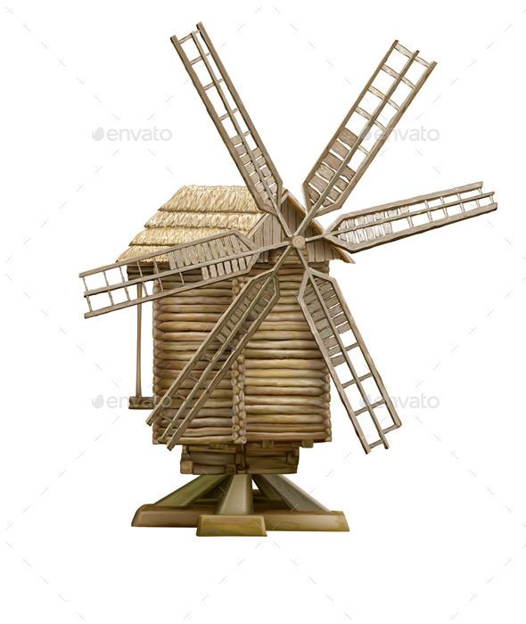 Wooden Windmill  - Buildings Objects