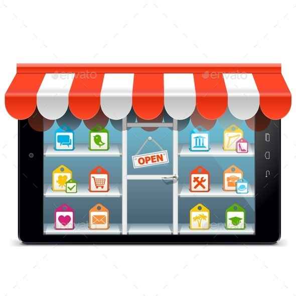 Vector Tablet PC with Supermarket Concept - Commercial / Shopping Conceptual