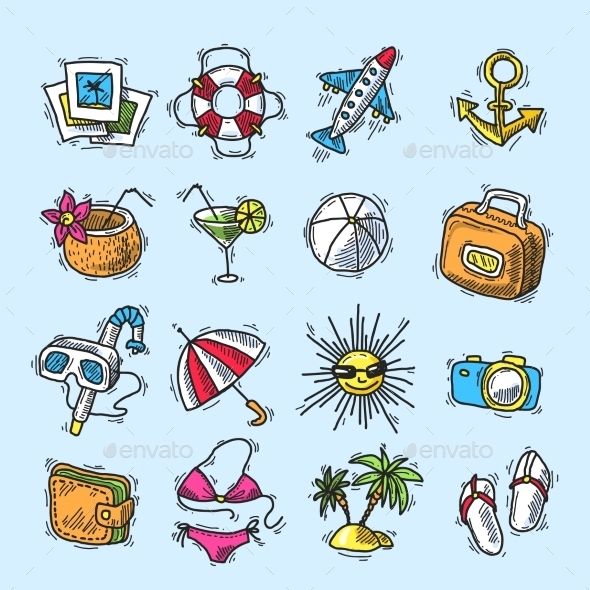 Summer Vacation Icon Set - Travel Conceptual