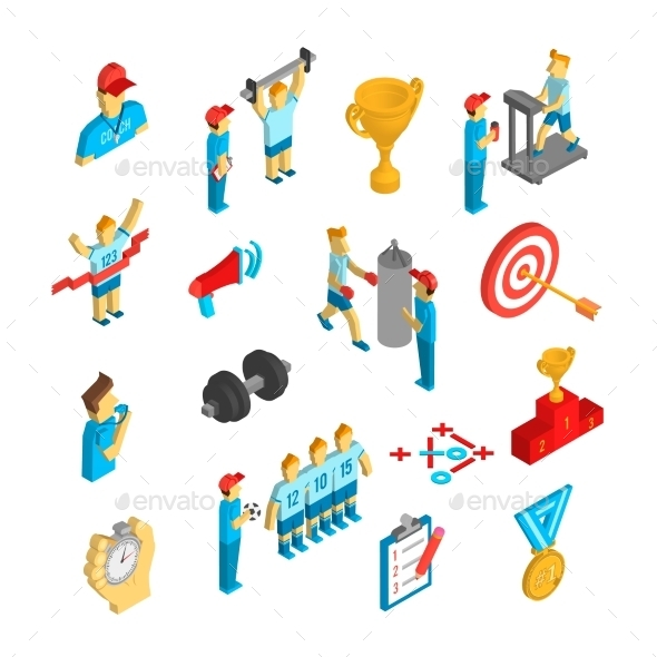 Coaching Sport Icon Isometric - Sports/Activity Conceptual