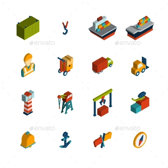 Seaport Icon Isometric - Business Conceptual