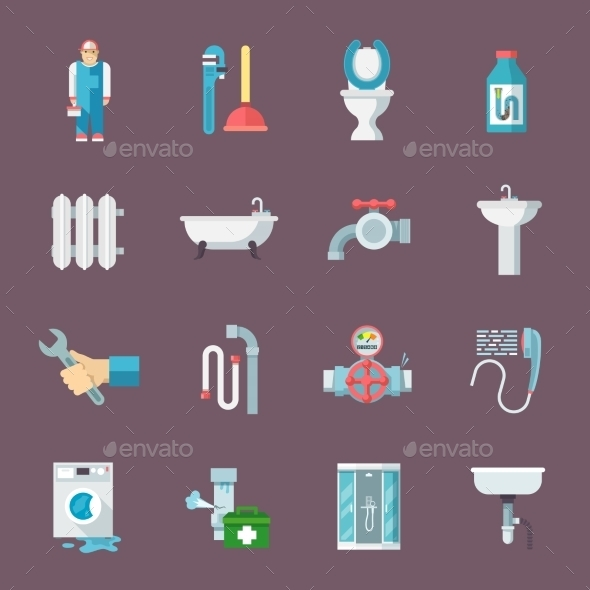 Plumbing Icons Set - Retail Commercial / Shopping