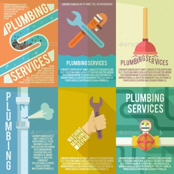 Plumbing Icons Composition Poster - Web Technology