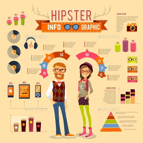 Hipster Infographic Set - People Characters