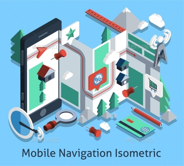 Mobile Navigation Isometric - Technology Conceptual