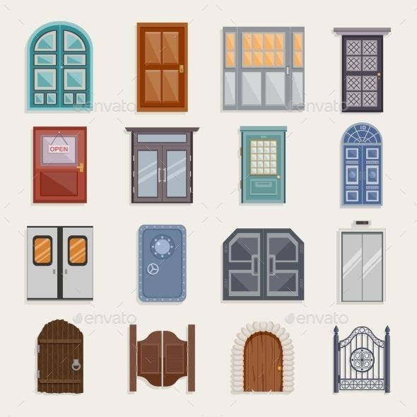 Door Icons Flat - Objects Vectors