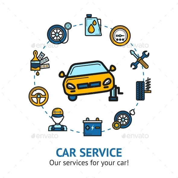 Car Service Illustration - Business Conceptual