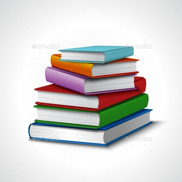 Books Stack Realistic - Objects Vectors