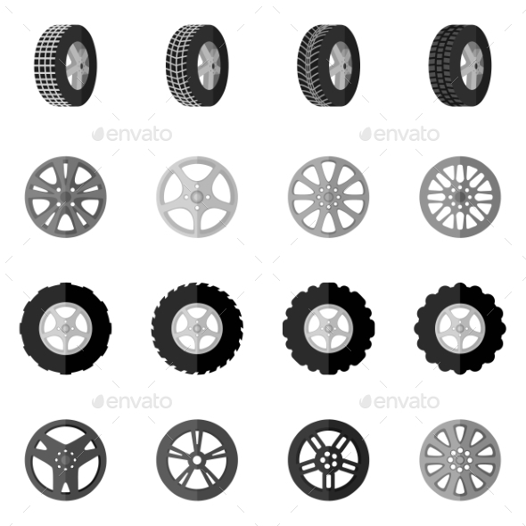 Tire Icon Black - Technology Conceptual
