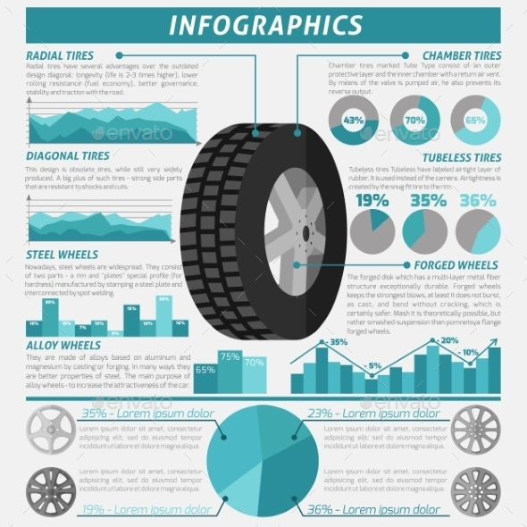 Tire Infographic Set - Services Commercial / Shopping