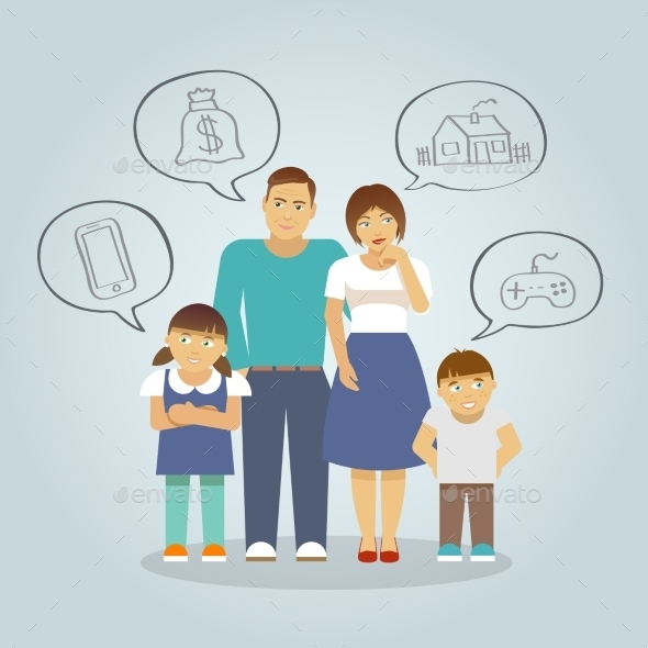 Family Dreaming Flat - People Characters