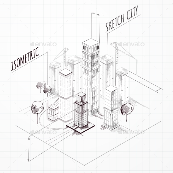 City Construction Sketch Isometric - Buildings Objects
