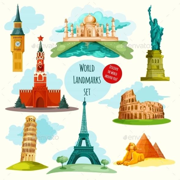 World Landmarks Set - Buildings Objects