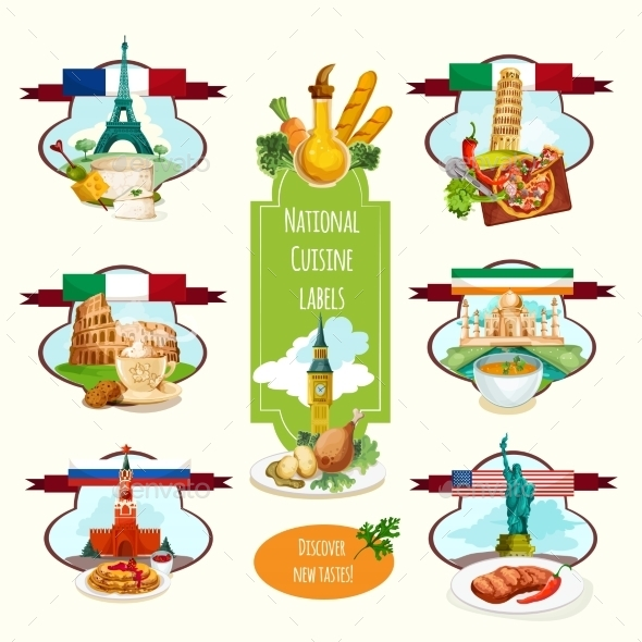 National Cuisine Labels - Travel Conceptual